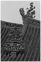 Roof detail, Kuan Yin Teng Chinese temple. George Town, Penang, Malaysia ( black and white)