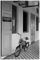 Bicycle in front of office. George Town, Penang, Malaysia ( black and white)