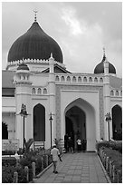 Front entrance, Masjid Kapitan Keling. George Town, Penang, Malaysia (black and white)