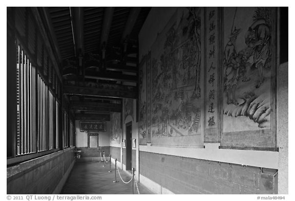 Murals in back gallery, Khoo Kongsi. George Town, Penang, Malaysia (black and white)