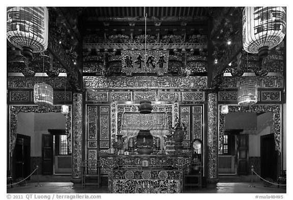 Enormous paper lamps lighting main hall of Khoo Kongsi. George Town, Penang, Malaysia (black and white)