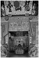 Entrance, Dragon Mountain Hall (Khoo clanhouse). George Town, Penang, Malaysia (black and white)