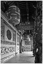 Gallery with paper lamps and stone carvings, Khoo Kongsi. George Town, Penang, Malaysia ( black and white)