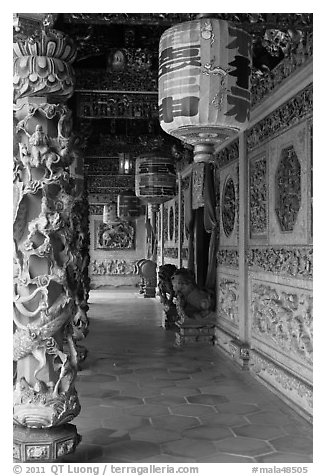 Paper lamps and rich carvings, Khoo Kongsi. George Town, Penang, Malaysia (black and white)