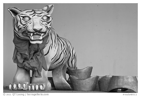 Ceramic Tiger, Hock Tik Cheng Sin Temple. George Town, Penang, Malaysia (black and white)