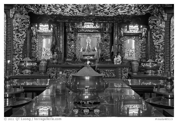 Poh Hock Seah altar, Hock Tik Cheng Sin Temple. George Town, Penang, Malaysia (black and white)