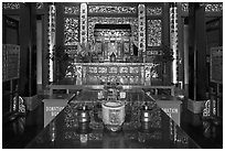 Tong Kheng Seah altar, Hock Tik Cheng Sin Temple. George Town, Penang, Malaysia (black and white)