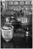 Detail of Tong Kheng Seah altar, Hock Tik Cheng Sin Temple. George Town, Penang, Malaysia (black and white)