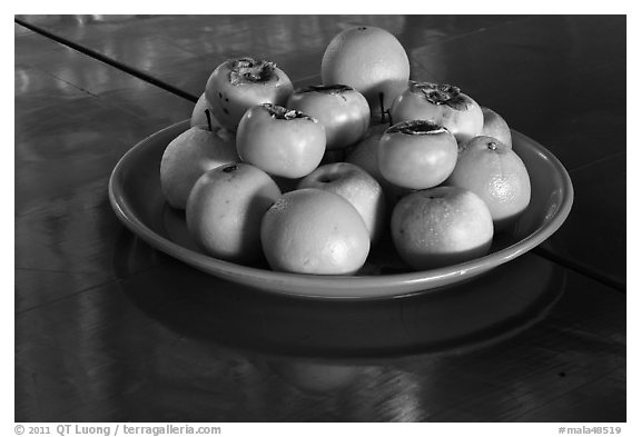 Fruit offering,  Hock Tik Cheng Sin Temple. George Town, Penang, Malaysia (black and white)