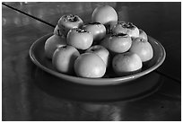 Fruit offering,  Hock Tik Cheng Sin Temple. George Town, Penang, Malaysia ( black and white)