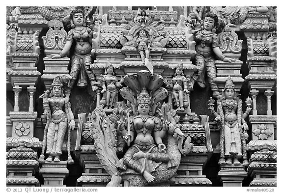 Detail of south indian temple tower. George Town, Penang, Malaysia (black and white)