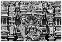 Detail of south indian temple tower. George Town, Penang, Malaysia ( black and white)