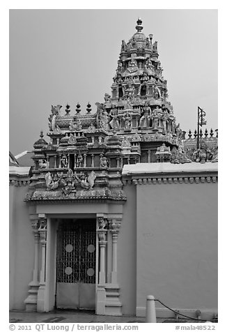 South Indian Sri Mariamman Temple. George Town, Penang, Malaysia (black and white)
