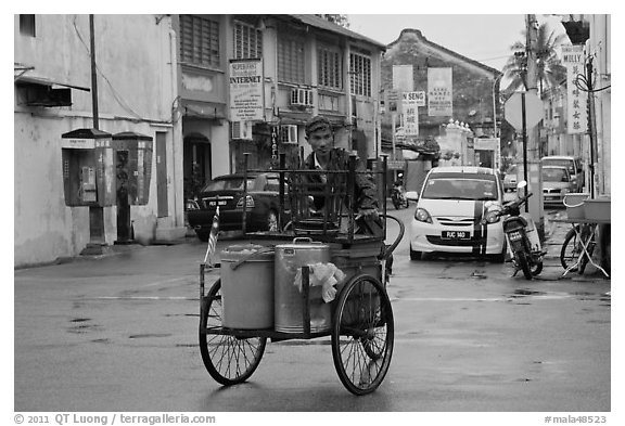 Food vending trishaw on Love Lane. George Town, Penang, Malaysia (black and white)