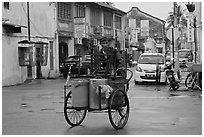 Food vending trishaw on Love Lane. George Town, Penang, Malaysia ( black and white)