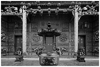 Slate and crimson facade, Hainan Temple. George Town, Penang, Malaysia (black and white)