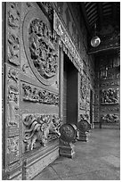Stone courtyard, Hainan Temple. George Town, Penang, Malaysia (black and white)