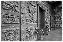 Carved stone walls, Hainan Temple. George Town, Penang, Malaysia (black and white)