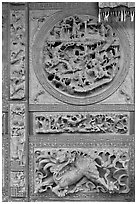 Sone carving motif, Hainan Temple. George Town, Penang, Malaysia ( black and white)