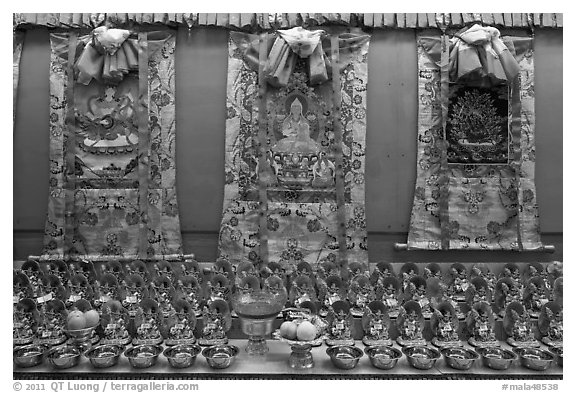 Tibetan thangka art. George Town, Penang, Malaysia (black and white)