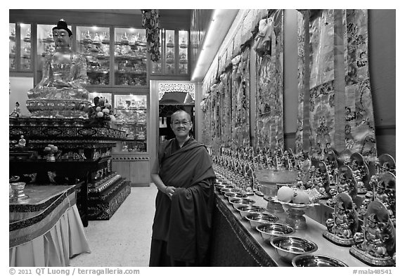 Abbot in Gelugpa Buddhist Association temple. George Town, Penang, Malaysia