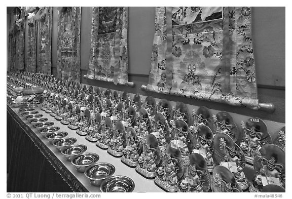 Amulets and Thangkas, Gelugpa Buddhist Association temple. George Town, Penang, Malaysia (black and white)