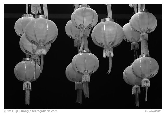 Paper lanterns by night, Gelugpa Buddhist Association temple. George Town, Penang, Malaysia (black and white)