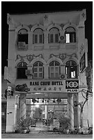 Chinatown hotel at night. George Town, Penang, Malaysia ( black and white)