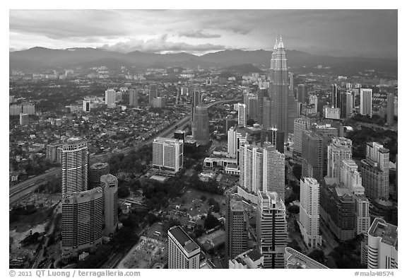 Elevated cityscape view with Petronas Towers. Kuala Lumpur, Malaysia (black and white)