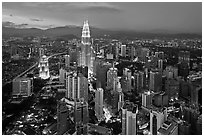 KL skyline with Petronas Towers from above, dusk. Kuala Lumpur, Malaysia ( black and white)