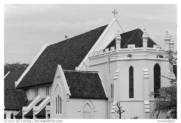St Mary Cathedral. Kuala Lumpur, Malaysia (black and white)