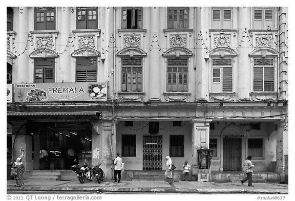 Black and white picture photo row of old shophouses for Classic house kl