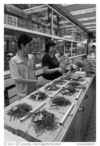 Chinese medicine herbs being packed on counter. Kuala Lumpur, Malaysia (black and white)
