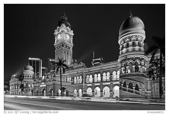 Black And White Picture Photo Sultan Abdul Samad Building Illuminated