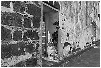 St Paul church stone walls. Malacca City, Malaysia (black and white)