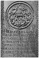 Tombstone of Dutch nobility. Malacca City, Malaysia (black and white)