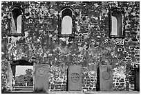 Church walls and tombstones, Bukit St Paul. Malacca City, Malaysia (black and white)