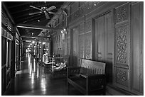 Corridor, sultanate palace. Malacca City, Malaysia ( black and white)