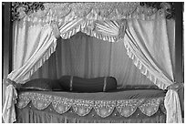 Sultans bed, sultanate palace. Malacca City, Malaysia (black and white)