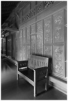 Wood panel and chair, sultanate palace. Malacca City, Malaysia (black and white)