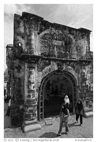 Porta de Santiago gate from A Famosa fort. Malacca City, Malaysia (black and white)
