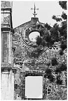 Wall and weatherwane on ruined St Paul Church. Malacca City, Malaysia (black and white)