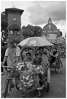 Bicycle Rickshaws ride, Town Square. Malacca City, Malaysia (black and white)