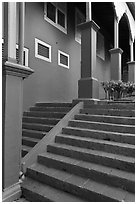 Stairs and columns, Stadthuys. Malacca City, Malaysia (black and white)