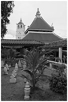 Masjid Kampung Hulu mosque in Javanese style architecture. Malacca City, Malaysia (black and white)