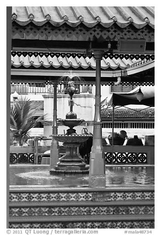 Ablution fountain, Masjid Kampung Hulu. Malacca City, Malaysia (black and white)