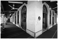 Prayer Hall, Masjid Kampung Hulu. Malacca City, Malaysia (black and white)