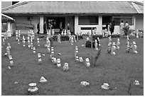 Cemetery and Kampung Kling Mosque. Malacca City, Malaysia (black and white)