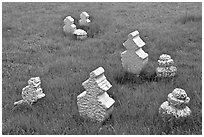 Simple tombstones, Kampung Kling Mosque cemetery. Malacca City, Malaysia (black and white)