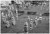 Islamic gravestones, Kampung Kling. Malacca City, Malaysia (black and white)